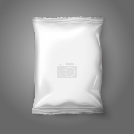 Ilustración de Blank white realistic foil snack pack isolated on grey background with place for your design and branding. Vector illustration - Imagen libre de derechos