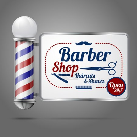 Realistic vector - old fashioned vintage silver and glass barber shop pole with Barber Sign. Isolated on grey background, for design and branding.