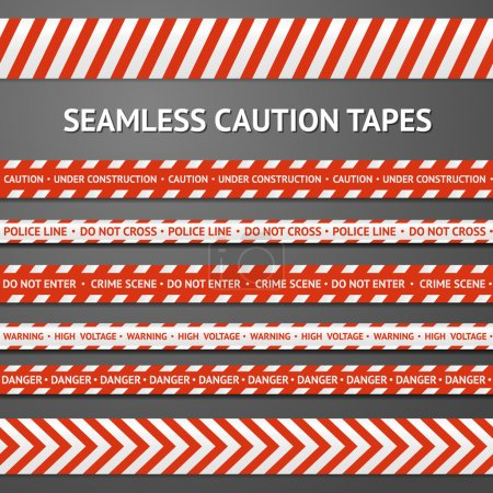 Set of red and white seamless caution tapes with different signs. Police line, crime scene, high voltage, do not cross, under construction etc.