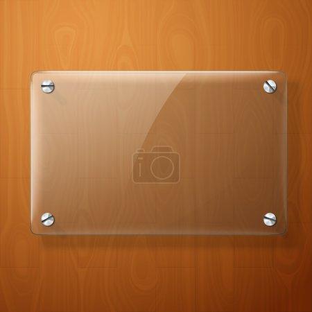 Illustration pour Plaque de verre pour vos panneaux, sur fond bois - image libre de droit