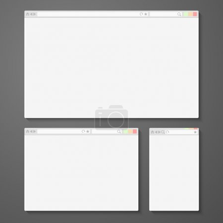 Set of all size browsers for site preview - computer, tablet, phone sizes. Vector
