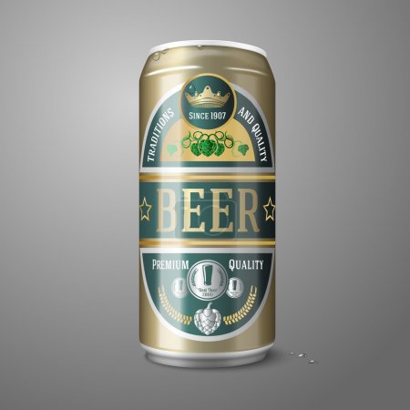 Illustration for Golden beer can with beer label, isolated on gray background, with place for your design and branding. Vector illustration - Royalty Free Image
