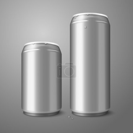 Illustration for Two blank aluminium beer cans isolated on gray background, with place for your design and branding. Vector illustration - Royalty Free Image