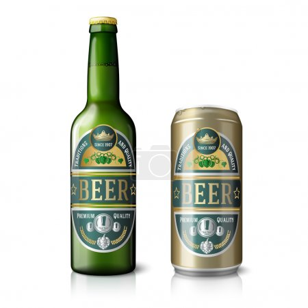 Illustration for Green beer bottle and golden beer can, with labels. Isolated on white background with reflections. Vector illustration - Royalty Free Image