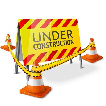 Bright Under Construction sign with orange strippe...