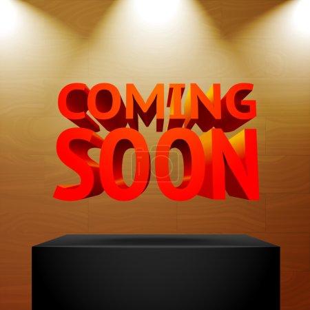 Illustration pour Scène avec les projecteurs projecteurs foudre le podium avec -Prochainement un message pour votre entreprise, présentations, offres, etc. Illustration vectorielle - image libre de droit