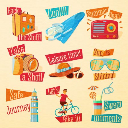 Illustration for Set of cute bright summer icons with typographic elements. Suitcase, flippers, swimming mask, radio, photo camera, hat, sunglasses, beacon, bike, cocktail . Vector. - Royalty Free Image