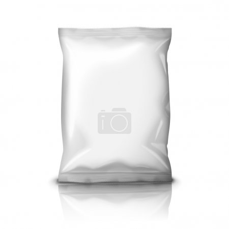 Illustration pour Blank blanc feuille réaliste snack pack isolé sur fond blanc avec réflexion et place pour votre conception et l'image de marque. Illustration de vecteur - image libre de droit