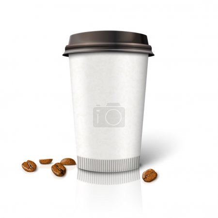 paper coffee cup with beans.