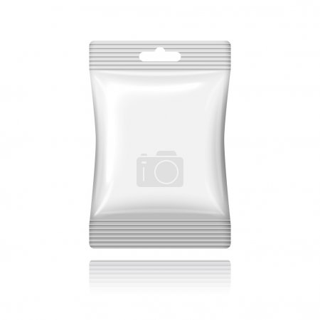 Blank white plastic sachet with hanging hole on th...