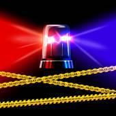 crime scene tape and flashing siren