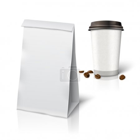 paper packaging bag and coffee cup