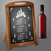 Menu template on chalkboard with wine bottle
