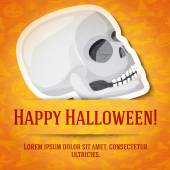 Happy halloween greeting card with white human skull sticker cut from the paper and placed between ribbon and background On the bright halloween texture with bats witches hats spiders pumpkins
