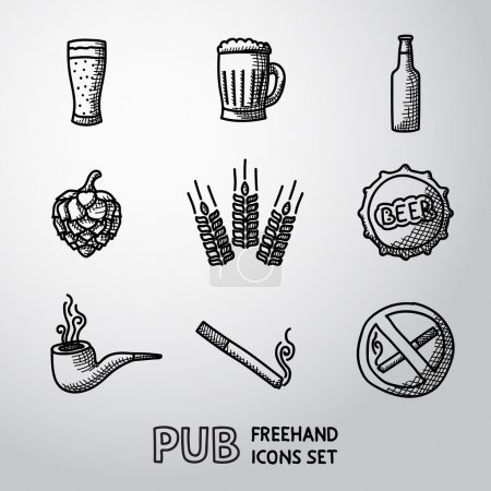 Pub, beer handdrawn icons set.