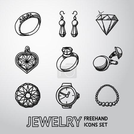 Jewelry monochrome freehand icons