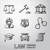 Law justice freehand icons set