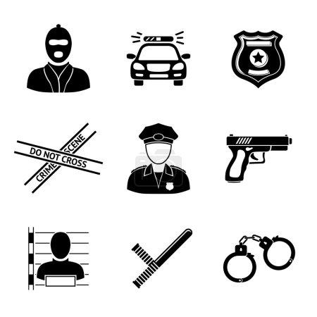Illustration pour Ensemble d'icônes monochromes de la police arme à feu, voiture, bande de scène de crime, insigne, policiers, voleur, voleur en prison, menottes, club de police. Illustration vectorielle - image libre de droit