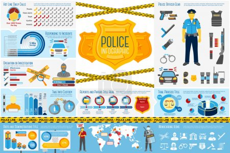 Illustration pour Ensemble d'éléments d'infographie de travail de la police avec des icônes, différents graphiques, taux, etc. Avec des endroits pour votre texte. Illustration vectorielle - image libre de droit