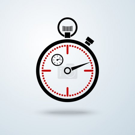 Black and red stopwatch icon with shadow, isolated on whiteblue background.