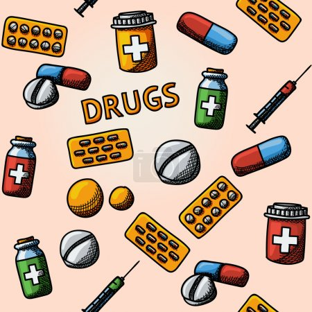 Illustration for Seamless drugs, pills handdrawn pattern with - pills box and tablets, pill, blister and vitamins, syringe, liquid medicine - Royalty Free Image