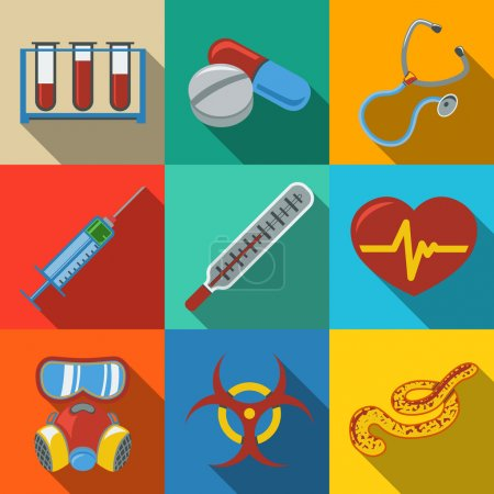 Medicine and health care colorful flat icons