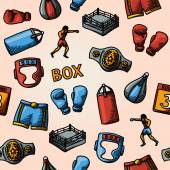 Boxing hand drawn color pattern