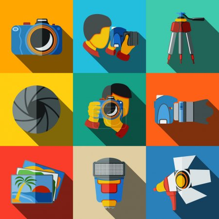 Photographer colorful flat icons set