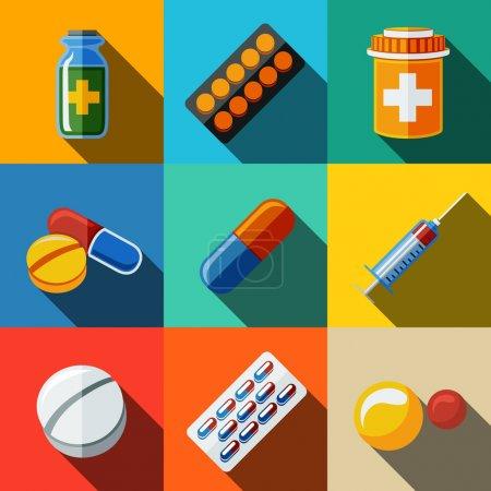 Photo pour Médicament, médicaments icônes plates serties d'ombre longue - boîte à pilules et comprimés, pilule, plaquette thermoformée, vitamines, seringue, médecine liquide . - image libre de droit