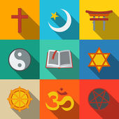 World religion symbols flat set with - christian and Jewish Islam Buddhism Hinduism Taoism Shinto pentagram and book as symbol of doctrine