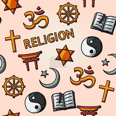 Photo pour La religion mondiale dessinée à la main modèle sans couture avec - chrétien, juif, islam, bouddhisme, hindouisme, taoïsme, shintoïsme, et le livre comme symbole de la doctrine - image libre de droit