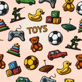 Seamless toys handdrawn pattern with - car and duck bear and pyramid ball game controller blocks whirligig soldier Vector illustration