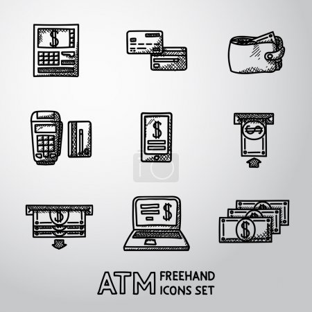 Set of freehand ATM icons with - ATM, cards, wallet, portable atm, smartphone, money transfer, notebook, bills. Vector