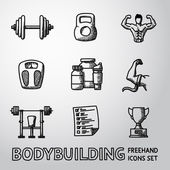 Set of Bodybuilding freehand icons with - dumbbell weight bodybuilder scales gainer shaker measuring barbell schedule goblet Vector
