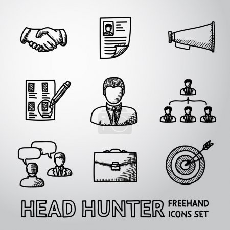 Set of handdrawn Head Hunter icons  - handshake, resume, mouthpiece, choice, employee, hierarchy, interview, portfolio, target with arrow in center. Vector