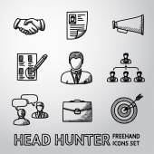 Set of handdrawn Head Hunter icons  - handshake resume mouthpiece choice employee hierarchy interview portfolio target with arrow in center Vector