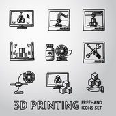 Set of handdrawn 3D Print icons  - printers pc with app scanner printing process maintaining plastic Vector