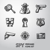 Set of Spy handdrawn icons