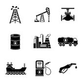 Set of oil icons - barrel gas station rigs tanker truck plant valve Vector