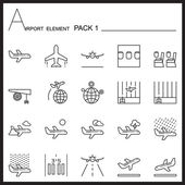 Airport Element Line Icon SetPack 1Mono packGraphic vector logo set
