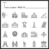 Travel Element Line Icon Set 10Landmark thin iconsMono packGraphic vector logo setPictogram design