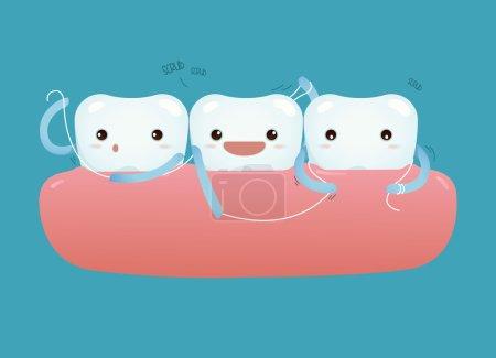 Teeth with dental floss for healthcare