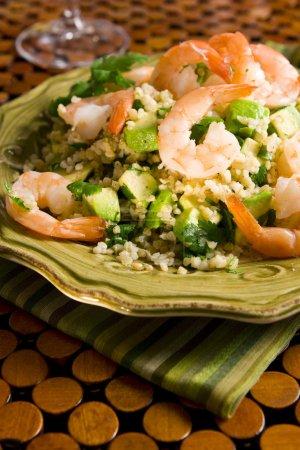 Photo for Bulgur shrimp salad with avocado - Royalty Free Image