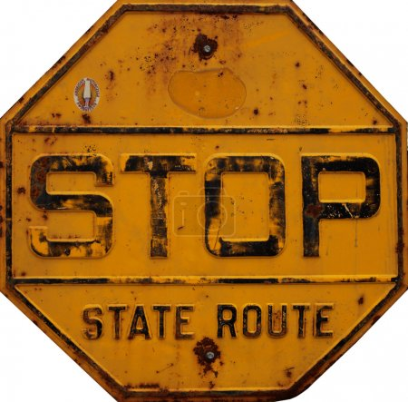 Photo pour Yellow old rusted road stop sign - image libre de droit