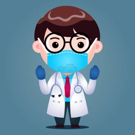 Photo pour Illustration vectorielle graphique de Cartoon Doctor porter Masque médical chirurgical se préparant à effectuer. Parfait pour l'illustration graphique de journal, brochure médicale, information de santé de télévision, etc. - image libre de droit