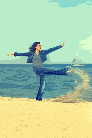 Sport cheerful girl in jeans and a denim jacket jumping in the sand near the sea and yacht