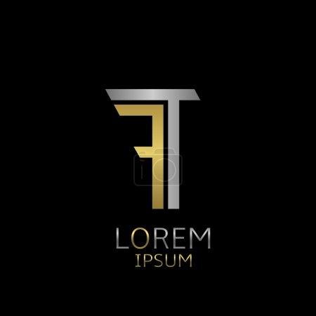 Illustration pour Modèle de logo Golden F et Silver T letters pour votre entreprise - image libre de droit