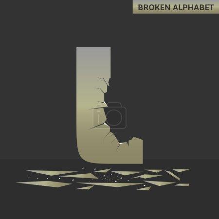 Illustration for Broken L letter. Mirror alphabet with cracks - Royalty Free Image