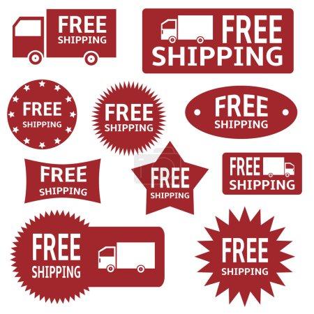 Illustration pour Vecteur rouge étiquettes de livraison gratuite sur fond blanc . - image libre de droit