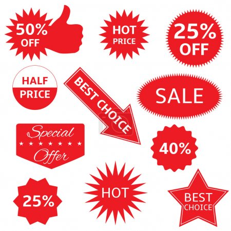Illustration for Red shopping labels for e-shop. Hot price, best choice, half price, special offer, sale icon set - Royalty Free Image